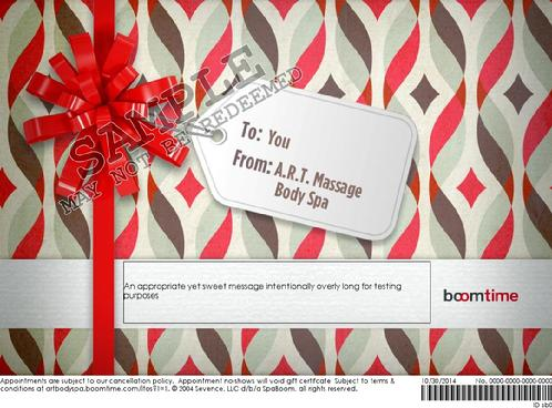 art massage body spa San Antonio online printable email gift certificate